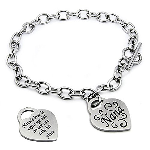 Stainless Steel I Love Nana Heart Tag Charm Bracelet, 7.5 (Rolo Chain Toggle Bracelet)