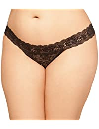 SEVEN 'TIL MIDNIGHT Women's Plus-Size Chloe Lace Thong with Keyhole Back Detail