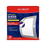 All-Health Antibacterial Sheer Adhesive Pad Bandages, 3 x 4 inch, 30 Count