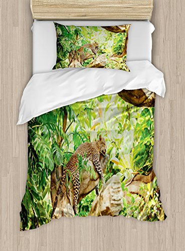 Ambesonne Safari Duvet Cover Set Twin Size, Leopard on the Branch in Savannah Exotic Macro Tropical Leaf Jungle Wild Nature Art, Decorative 2 Piece Bedding Set with 1 Pillow Sham, Brown Green
