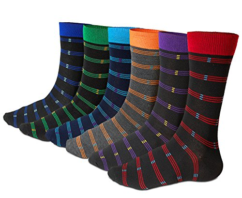 Mens Dress Socks Multi-color Striped Pattern 6-pack By DEBRA WEITZNER striped b 10-13 - Multi Color Pattern