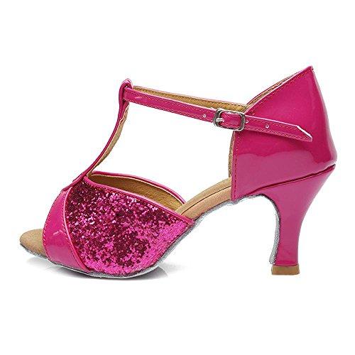 Femmes Tango 5 femmes pour les danse femmes Chaussures YFF Rosy latine 7CM filles de couleurs xnqFfaP