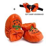 Morbuy Halloween Pumpkin Baby Shoes Orange Velvet Boy & Gril First Walking Newborn Infant Cute Sneaker Anti-Slip Soft Sole Prewalker Keep Warm Crib Canvas Shoes (10.5cm / 6-9 Month)