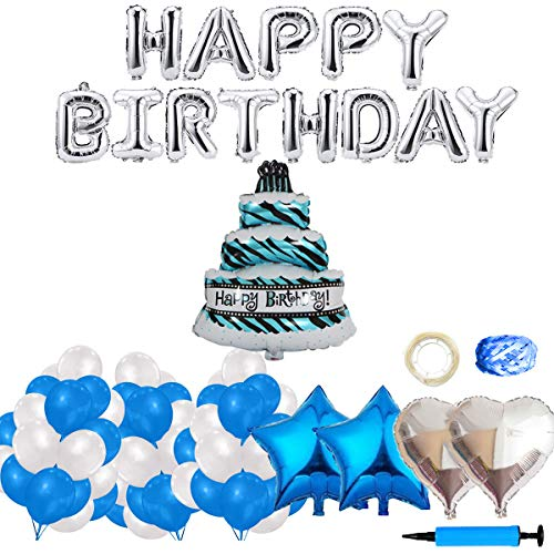 (Happy Birthday Balloons, 160pcs Decorations Supplies with Silver Aluminum Foil Letters Banner Star Heart Confetti Mylar Latex Balloon for Funny Stars Party Celebration (Blue))