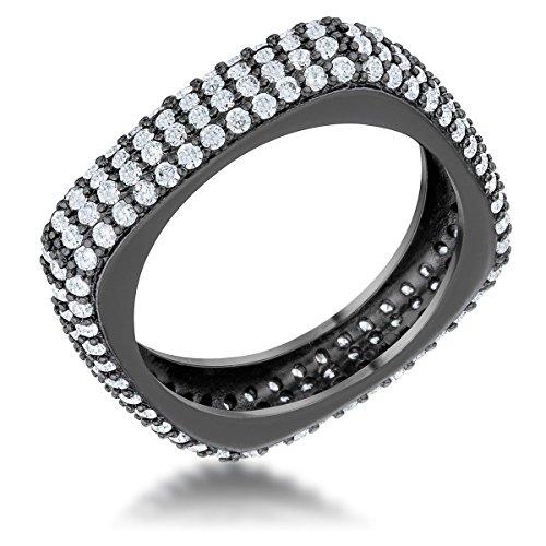 Freedom Fashion Jana 1.29ct CZ Hematite Contemporary Square Band Ring - Hematite Square Ring
