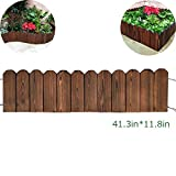 Creation Core Flexible Solid Wood Garden Edging Tree Plant Flower Picket Border Fence Decorative Lawn Divider,41.3inx11.8in
