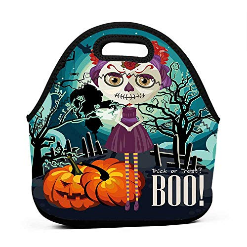 Convenient Lunch Box Tote Bag Halloween,Cartoon Girl with Sugar Skull Makeup Retro Seasonal Artwork Swirled Trees Boo,Multicolor,lunch boxes bag for kids