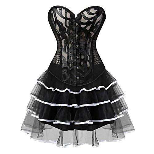 Grebrafan Damen Breathable Corset Party Kleid Corsage mit Tüllrock Weiß  h5a0RP cdfef88bb2
