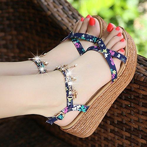 Xing Lin Sandalias De Cuero Sandalias De Cuña Mujer Verano Nuevo Diamante Zapatos De Suela Gruesa Estudiante Dulce Zapatos Zapatos Con Tacón De Aguja Navy blue