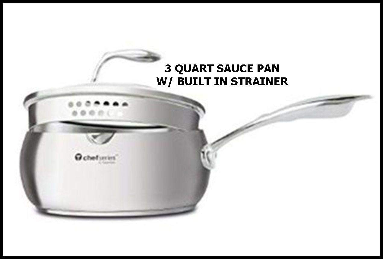 Tupperware Chef Series 3 Qt Saucepan W/strainer Lid NEW