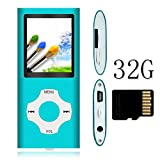 Tomameri MP3 Player with 32 GB Micro SD Card, Music Player with Rhombic Button, E-Book Reader, Mini USB Port, Photo Viewer-32GB,Blue