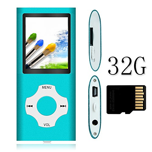 Tomameri – Portable MP3 / MP4 Player with Rhombic Button, Including a Micro SD Card and Support Up to 64GB, Compact Music, Video Player, Photo Viewer Supported – White&Blue