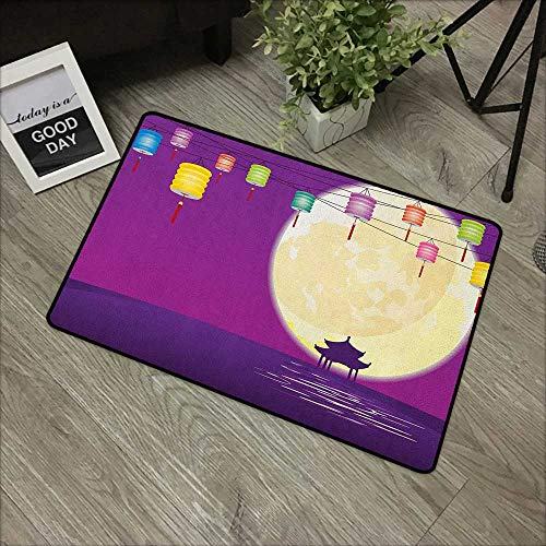 Outdoor Indoor Entrance Doormat Lantern,Chinese Style Pavilion in Full Moon Night to Celebrate Mid Autumn Festival, Violet Night Blue,For Patio, Front Door, All Weather Exterior Doors,30