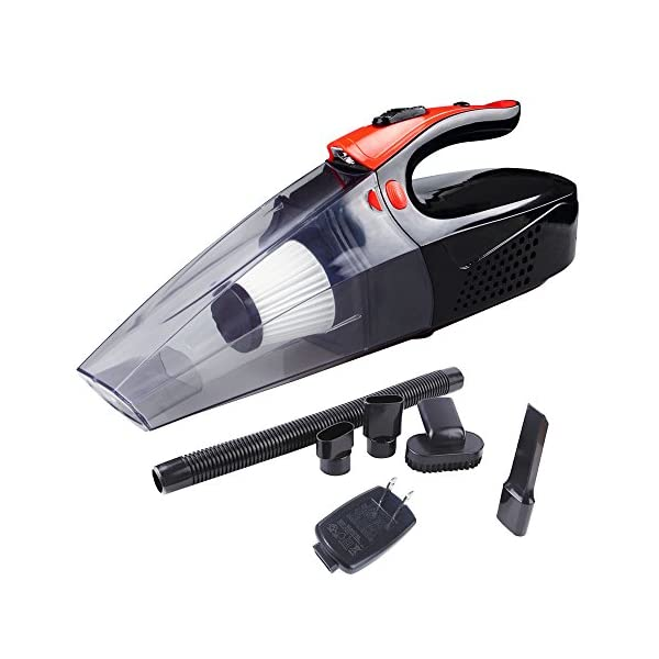 YJC Handheld Vacuum   Portable Vacuum Cleaner   Car Vacuum Cleaner   Rechargeable Vacuum Cleaner 4Kpa Wet/Dry Auto Vehicle Cleaner 7800mAh With Led Light (Black&Orange)