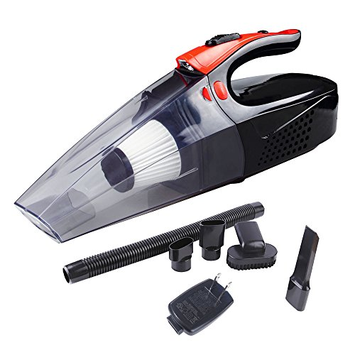 YJC Handheld Vacuum – Portable Vacuum Cleaner – Car Vacuum Cleaner – Rechargeable Vacuum Cleaner 4Kpa Wet/Dry Auto Vehicle Cleaner 7800mAh With Led Light (Black&Orange)