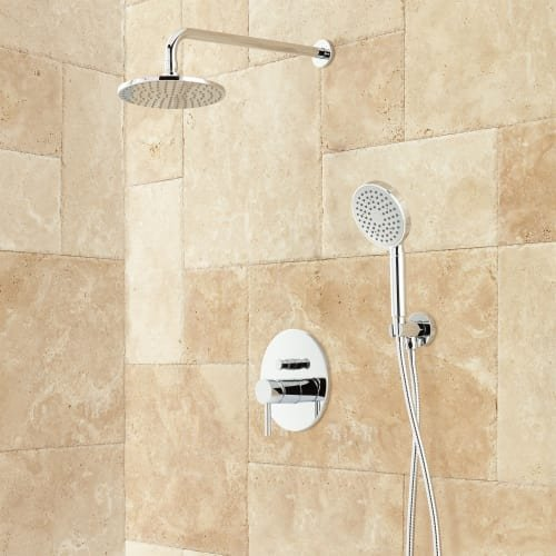 416164 Lattimore Shower System with Rainfall Shower Head and Hand Shower - Rough In Included