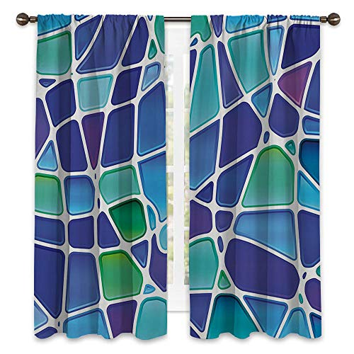 SATVSHOP Waterproof Window Curtain - 84W x 72L -Blackout Draperies for Bedroom.Fractal Ceramic Mosaic Style Forms Trippy Abstract Vivid Figur Display Purple Jade Green oyal Blue.