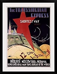 """GreatBIGCanvas """"Trans Siberian Express, Vintage Poster"""" Photographic Print with Black Frame, 26"""" x 36"""""""