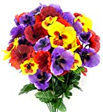 Admired By Nature Artificial Pansy Mixed Flowers Bush, 12 Stems for Home office, Restaurant, Wedding Decoration, Lavender/Red/Yellow Mix, 12 Piece