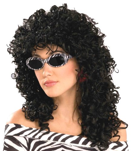 Sonny Bono And Cher Costumes (Forum Novelties Women's 80's To The Maxx Wild Curl Wig, Black, One Size)