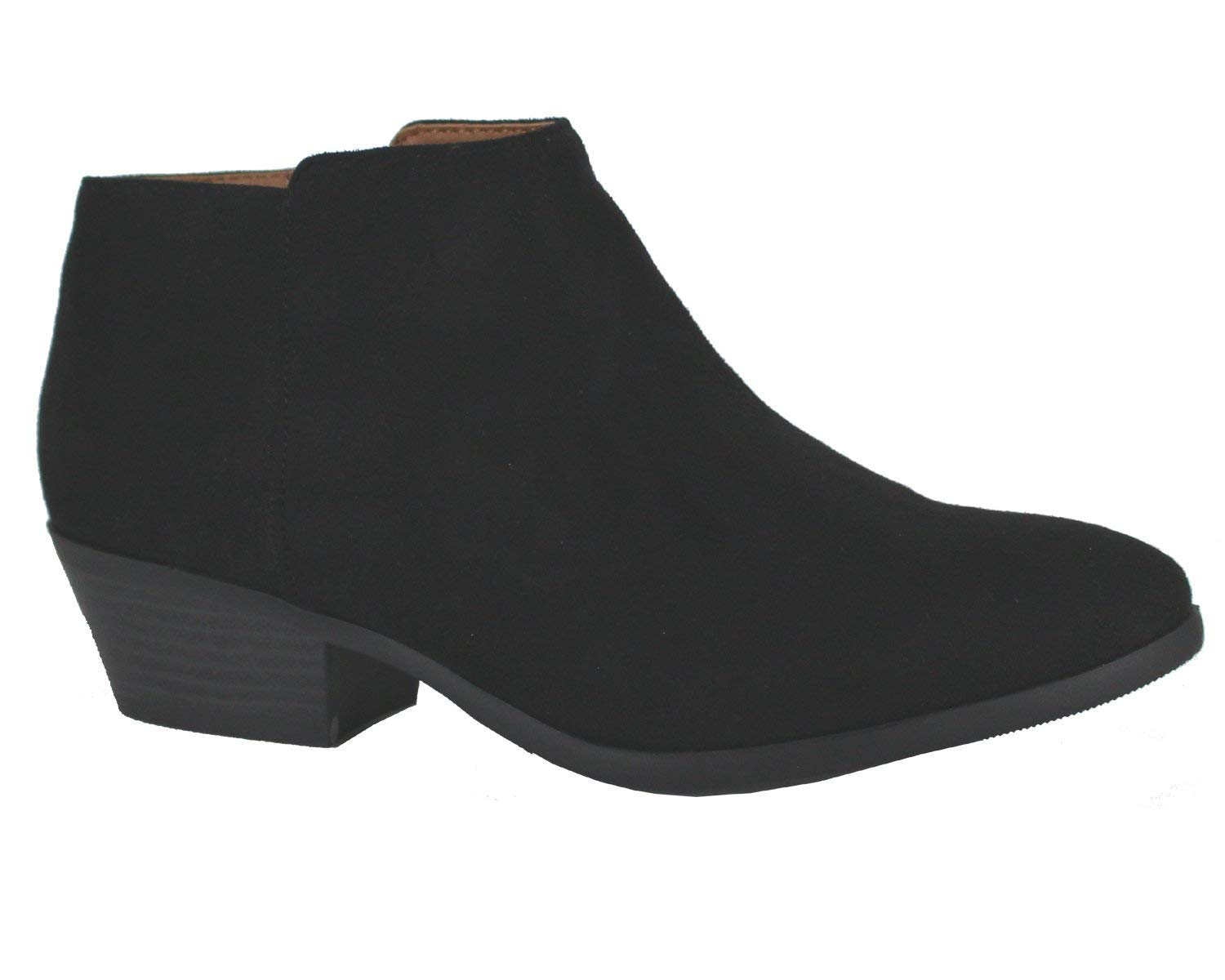 Soda Western Ankle Boot- Cowgirl Low Heel Closed Toe Casual Bootie ISU Black 8