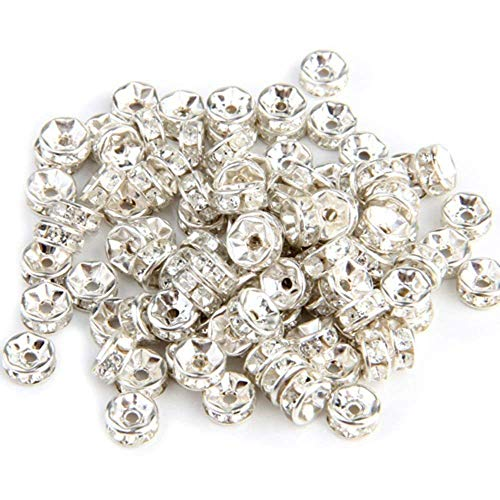 Diamond Spacer Beads - Tcplyn Diamond Spacer Beads Craft Beads Plating Beads DIY Flat Round Beads Bracelet Necklace Accessories Silver 100 Pcs