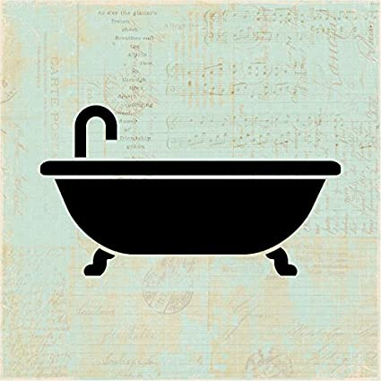 Vintage Bathtub Wall Art Bath Icon Illustration Old Fashioned Bathroom Print Or Poster With An Aged