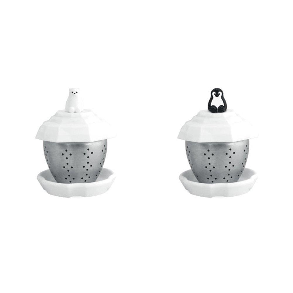MIKEEP Tea Boat Brew In Cup Tea Infuser Set Cover Infuser Trivet Platinum Silicon Set Polar Bear Penguin