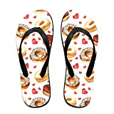 Couple Slipper Doughnut Love Heart Print Flip Flops Unisex Chic Sandals Rubber Non-Slip Beach Thong Slippers