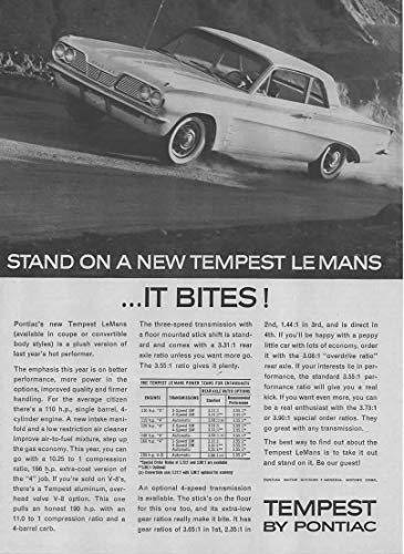 Magazine Print Ad: 1962 Pontiac Tempest LeMans, Chart with Engines-Transmissions-Rear Axle Ratio Options,