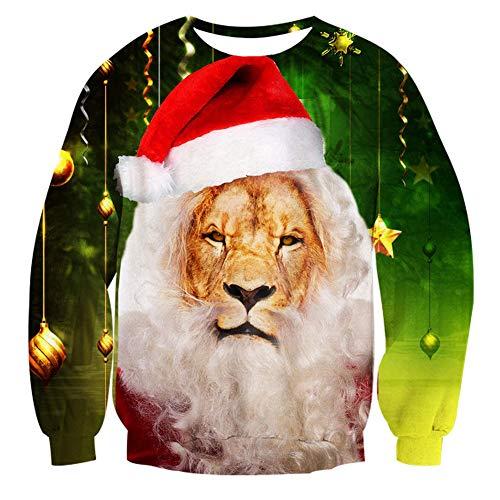 Goodstoworld Christmas Lion Sweater Men 3D Ugly Funny Xmas Party Sweatshirt