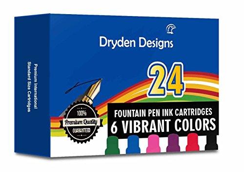 Dryden Fountain Pen Ink Cartridges ✮ ASSORTED COLORS: Black, Blue, Green, Purple, Red, Pink ✮ Short International Standard Size