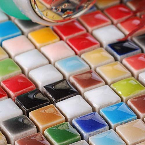 Hominter 6-Sheets Multi Colored Ceramic Mosaic Floor Tile, Small Square Glazed Porcelain Tile, Bathroom Tiles Shower Wall Backsplash TA401