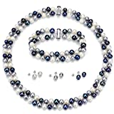 Sterling Silver 2rows 6-6.5mm Dyed-multidark Freshwater Cultured Pearl Necklace, Bracelet & Earrings