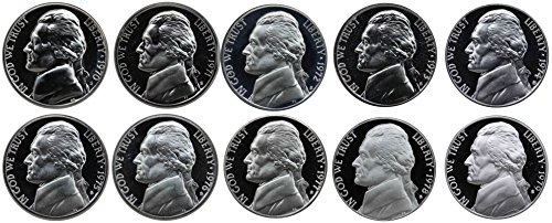 - 1970-1979 S Jefferson Nickel Gem Proof Run 10 Coins US Mint Decade Lot Complete 1970's Set