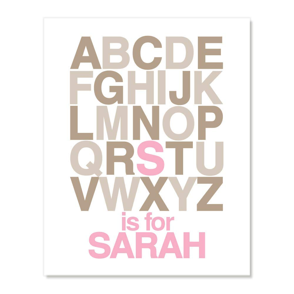 Pink Brown, Many Sizes Personalized Alphabet ABC Name Wall Art for Toddler Kids Room Baby Boys Girls Nursery
