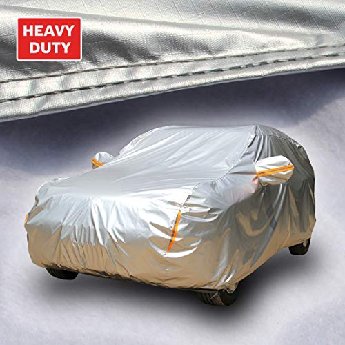 Tecoom Heavy Duty Multiple Layers SUV Cover All Weather Waterproof Windproof Reflective Snow Sun Rain UV Protective Outdoor with Buckles and Belt Fit 196-210 inches - 2009 Suv Bmw