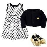 Hudson Baby Girls' 3 Piece Dress, Cardigan, Shoe