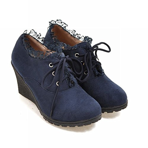 Latasa Mujeres Lace-up Oxford Cuñas Zapatos Azul Oscuro