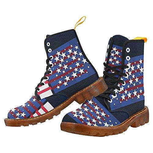 Impronte Di Gioco Carte Da Gioco Stampa Stringate Stivali Moda Scarpe Da Uomo Bandiera Americana