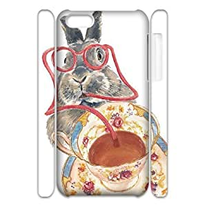 3D Yearinspace the Rabbit Cup IPhone 5C Cases, Cheap Protective Case for Iphone 5 {White}