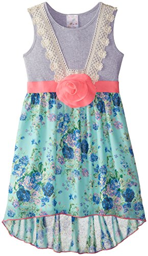 Elisabeth Big Girls' Mixed Fabric Dress with Crochet, Aqua, Small/7/8