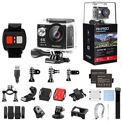 AKASO EK7000 4K WiFi Action Camera 30m Waterproof Camera Remote Control 12MP Underwater Camera with Helmet Accessories Kit – Black