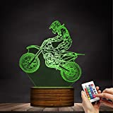 Dirt Bike 3D illuminated Display Desk Lamp Motorcross Bike Modern Night Light With Color Change and Remote Controller Gift For Freestyle Motorcross Bikers