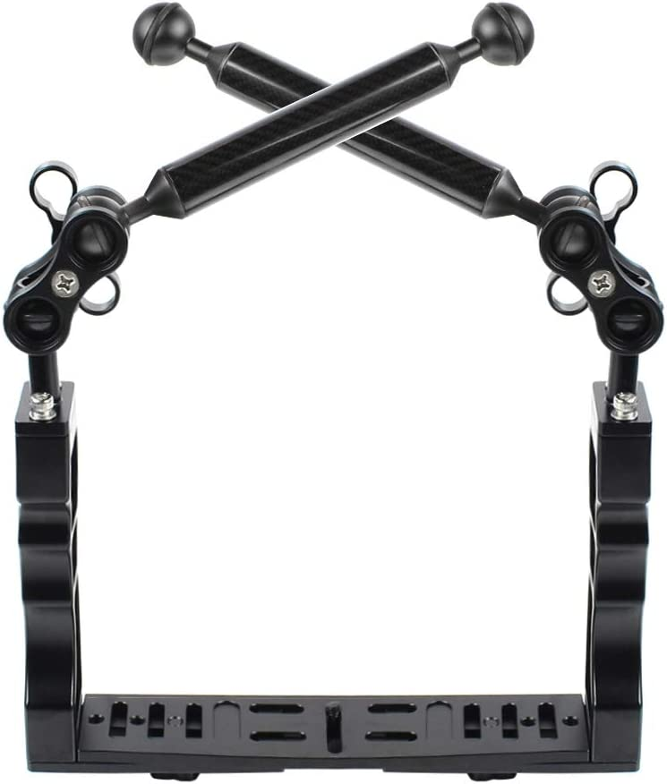 GuiPing Dual Handle Aluminium Tray Stabilizer with Dual Ball Aluminum Alloy Clamp /& Floating Arm for Underwater Camera Housings Durable Color : Black