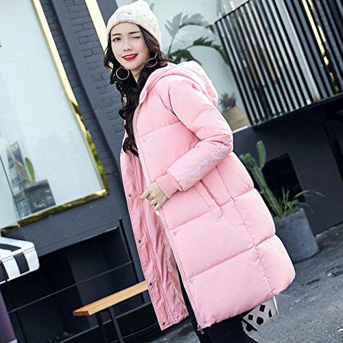 abrigo largo sudadera capucha Moda M gruesa abrigo chaqueta Rosado 2XL de algodón más mujer SHOBDW con invierno caliente de d8qYx8PZ
