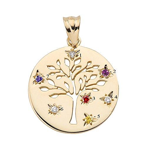 10 ct 471/1000 Or Jaune Arbre de la Vie famille Baum Disc Avec Pierre de Naissances Pendentif