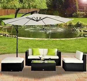 Outsunny 5piezas de mimbre ratán muebles de jardín sofá de esquina al aire libre muebles de jardín de aluminio negro (para sombrilla no incluido)