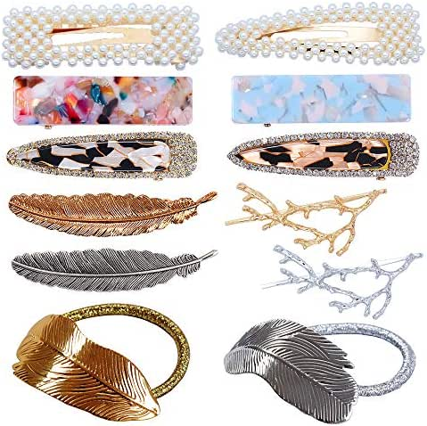 fani Acrylic Resin Crystal Hair Clips & Hair Ties Set for Women 12 Pcs Hollow Pearl Hair Clips Gold Silver Alloy Hairpin Feather and Tree Branch Clamps Multiple Style Hair Accessories