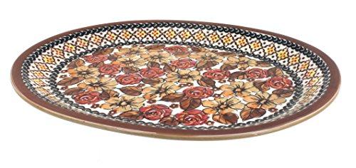 Polish Pottery Autumn Rose Large Oval Platter (Blue Large Oval Platter)
